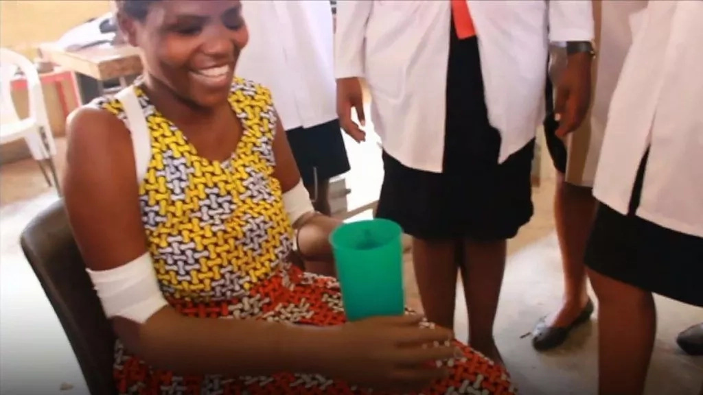 Ugandan mother whose hands were both chopped off using machete gets brand new arms