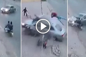 2 Brothers Ride Motorbike When The GET Hit By A Car (Video)