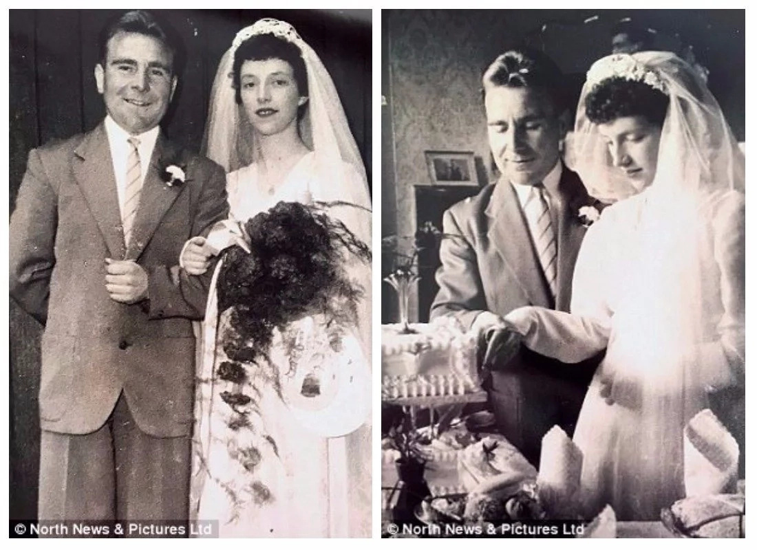 The couple on their wedding day 61 years ago. Photo: North News & Pictures Ltd