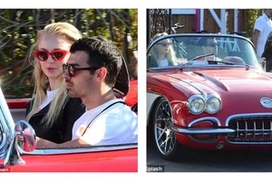 Cute! Rare photos of Sophie Turner riding in lover Joe Jonas' HOT Red Corvette (photos)