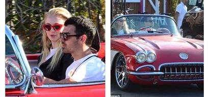 Cute! Rare photos of Sophie Turner riding in lover Joe Jonas' HOT Red Corvette (photos)