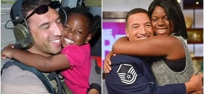 Touching! Air force vet saved a tiny girl from hurricane, then she follows in his footsteps (photos)