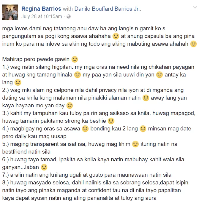 Danilo Barrios' wife gives tips for a happy marriage