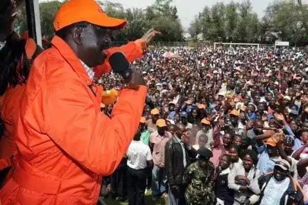 Raila Odinga kwenye mkutano wa awali. Picha ya maktaba