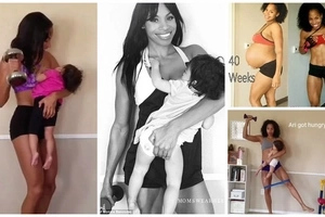 Mother-of-2 pulls tough workout routine while breastfeeding her baby (photos)