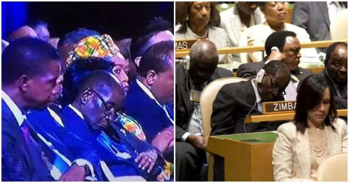 Robert Mugabe doesn't sleep at meetings, but closes his eyes to protect them from BRIGHT LIGHTS (photos)