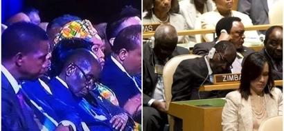 Hahaha! Mugabe doesn't sleep at meetings but closes his eyes to protect them from BRIGHT LIGHTS (photos)
