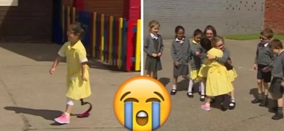 Wow! Disabled girl, 7, embraced by schoolmates as she shows off her NEW leg for 1st time (photos)