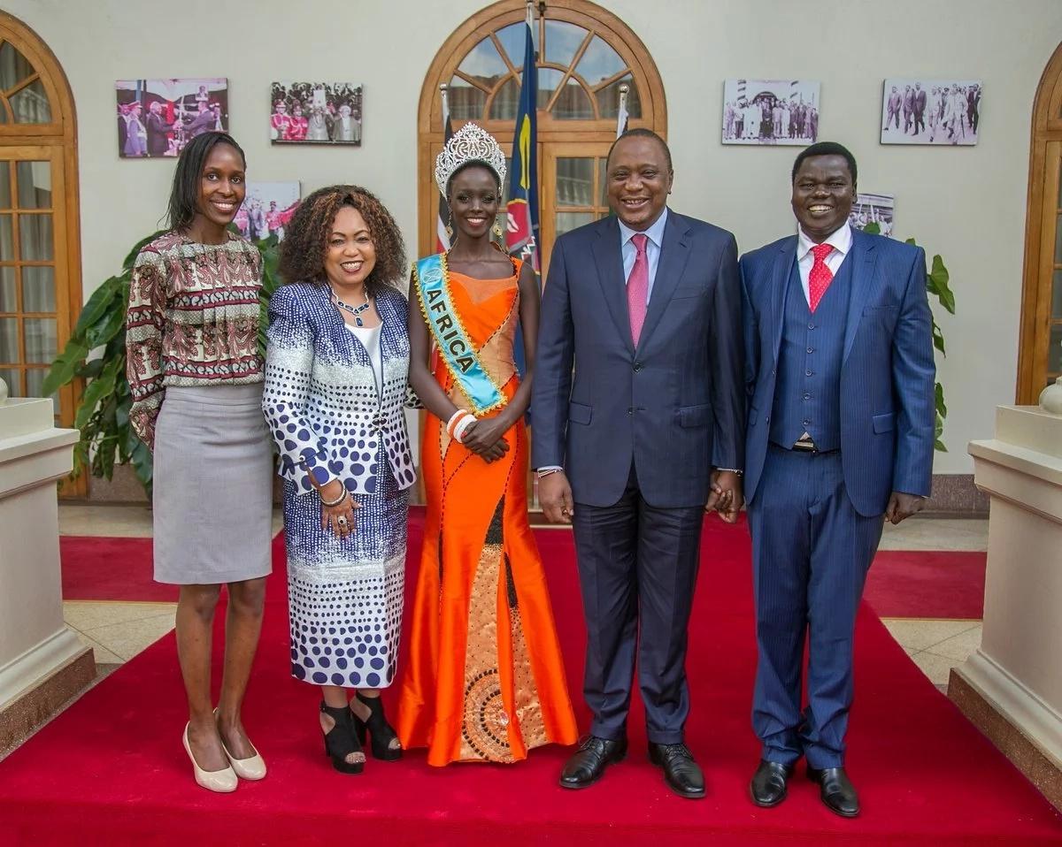 Miss World Africa- 2017 finalist Magline Jeruto visits Uhuru at State House Nairobi