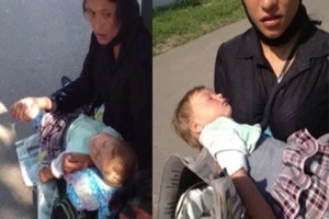 Netizens Discuss Creepy Story of a beggar with the Child that 'Sleeps' All the Time...