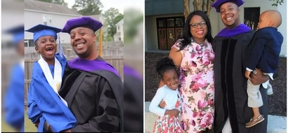 Dad graduates after 6 YEARS of working odd jobs and supporting his wife through medical school (photos)