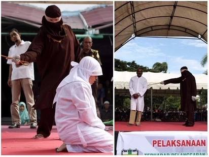 Enforcing sharia! Men and women brutally flogged in public for committing adultery and gambling