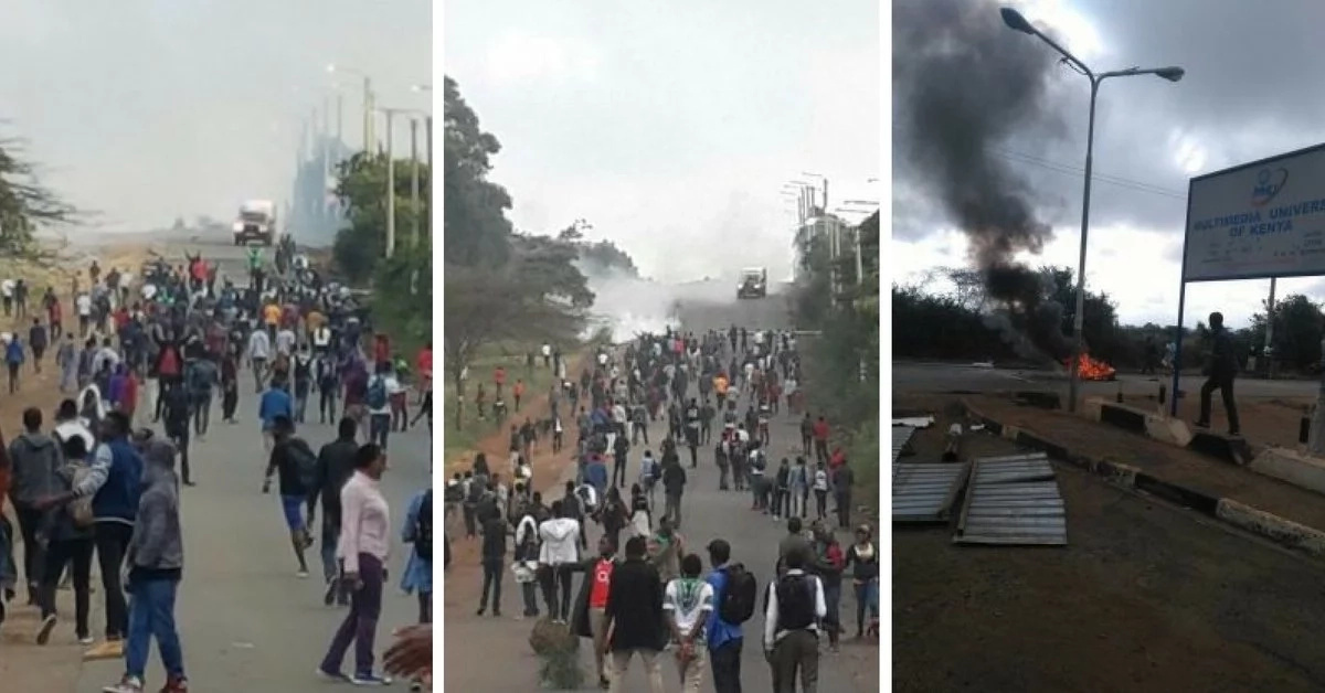 Multimedia university students hold demonstrations in Rongai