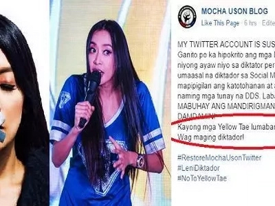 Mocha Uson viciously slams her critics after her Twitter account was suspended: 'Yellow Tae lumaban kayo ng patas'