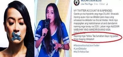 Mocha Uson viciously slams her critics after her Twitter account was suspended: 'Yellow Tae lumaban kayo ng patas'