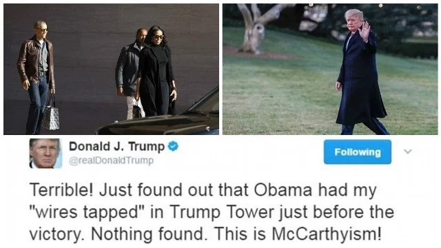 Obama reacts for the first time since Trump's sensational wire-tapping claims hit headlines (photos)