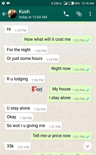 Man shares screenshots of his conversation with a prostitue