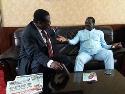 Has Mudavadi finally teamed up with Raila? Photo shows the two in Laikipia for a major political rally