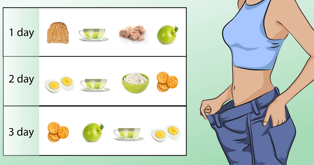 A military diet meal plan to lose up to 1 pound in 3 days