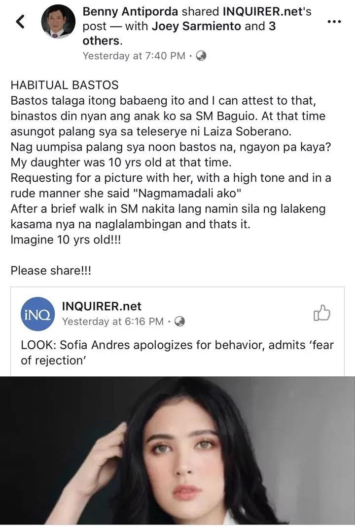 "Bastos daw talaga? NPC President Benny Antiporda backs up Mangyan Blogger's claim over Sofia Andres' alleged ""attitude problem"""