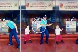 Netizens go crazy over dance video of policeman and little girl at police station in Ilocos Norte! Watch the epic clip here!