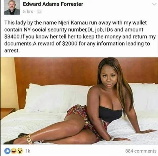 Do you know her? American man robbed by pretty Kenyan woman, offers N631k for her arrest (photos)