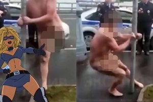 This crazy handcuffed russian pervert is displaying his mad pole dancing skills