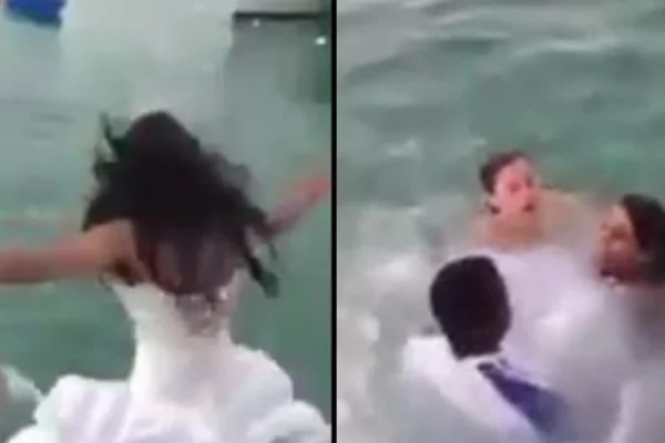 The Bride Did Not Expect That Her Wedding Gown Has Almost Killed Her On The Big Day. Watch The Video To Find Out