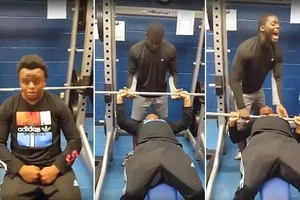 Ouch! Man who wanted to impress friends in the gym badly embarrasses himself (photos)