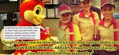 This Jollibee crew was insulted by a conyo as 'BOBO' and 'WALANG PINAG-ARALAN' but you will applaud her for a perfectly classy response. Woot! Woot!