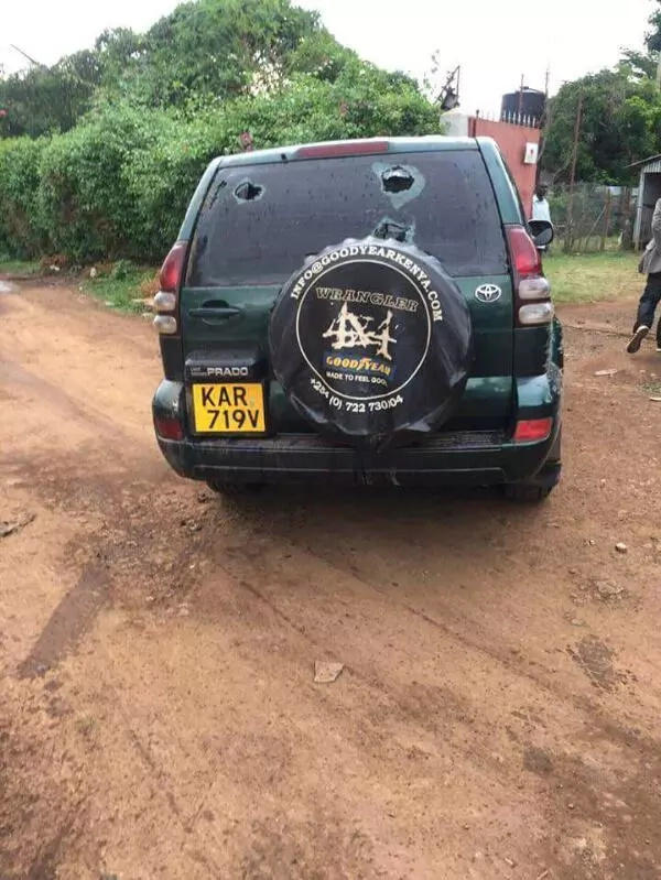 The Senator's vehicle when he was attacked in Kisumu.