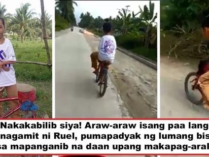 Di niya hinahayaang pigilan siya ng kapansanan! Disabled Grade 9 student rides bicycle using one good leg to reach school several kilometers away