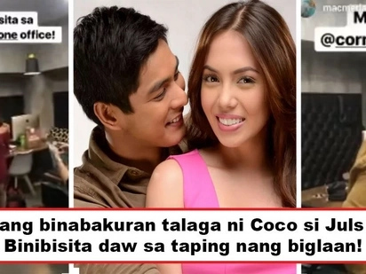 Pagiging sweet o binabakuran si Julz? Coco Martin visits Julia Montes during taping and Cornerstone office staff go crazy