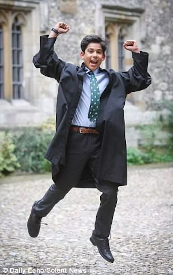 Patel celebrates after achieving a perfect IQ score. Photo: Daily Echo