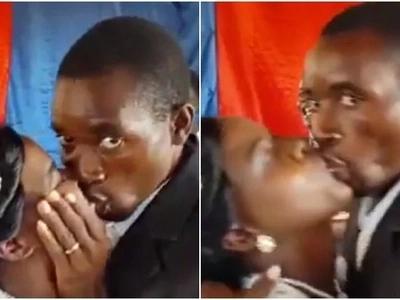 Hili ni busu kweli! Bwana harusi surura kumng'ata mkewe wakati wa harusi (Video, Picha)