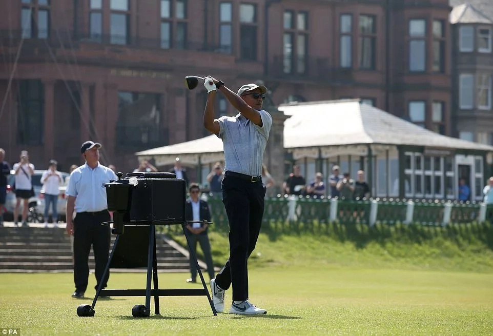 Obama is famed for his keen love of golf - but he avoided Trump's golf course