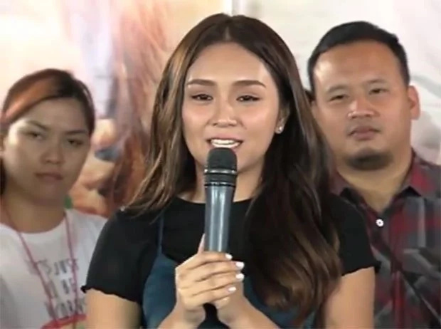 Kathryn cries during 'Barcelona's' victory party