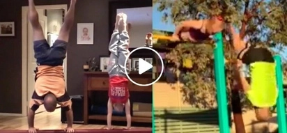 Dad Tries To Keep Up With His Daughter's Gymnastics Moves