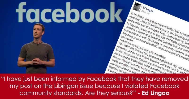 Facebook speaks up about taking down posts by Ed Lingao, EJAP