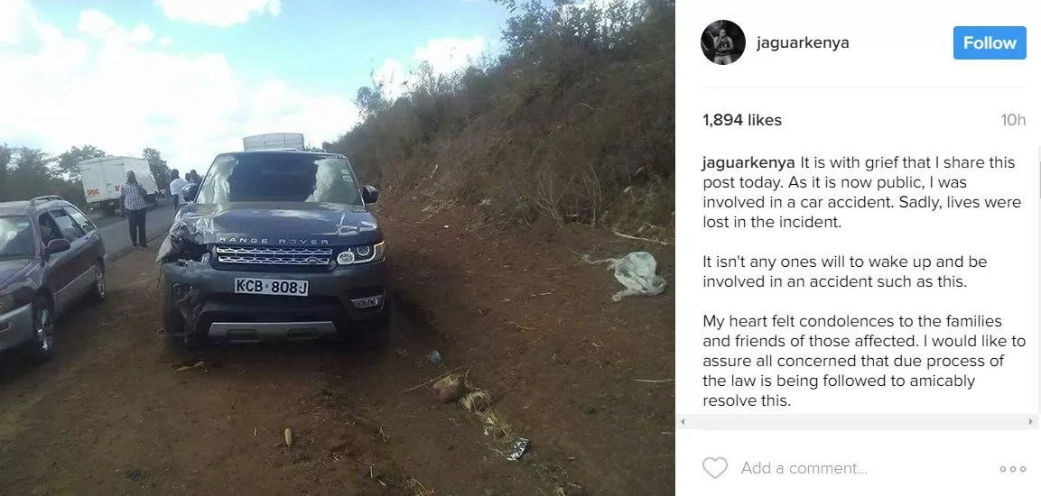 Jaguar charged with careless driving leading to deaths of 2 people in Sagana, released on Sh50,000 bond