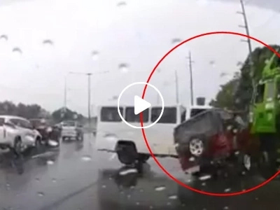 Car gets smashed in between a van and a truck in NLEX