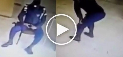 Clumsy Pinoy security guard playing with his gun brutally shoots himself