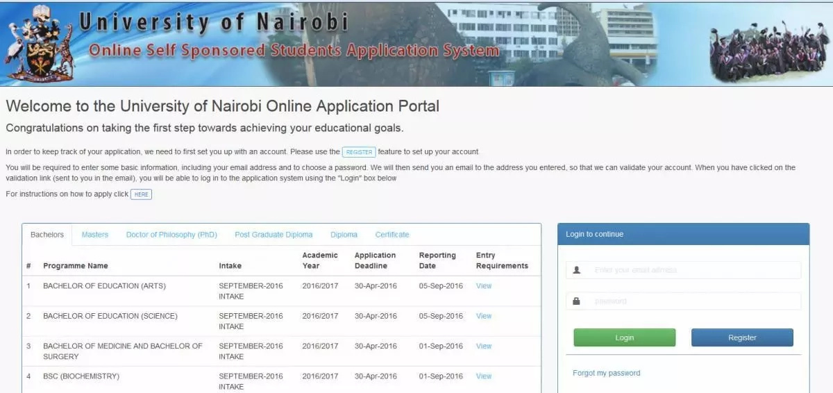 University of nairobi online application portal