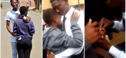 Teen couple return to school after being suspended for their marriage proposal