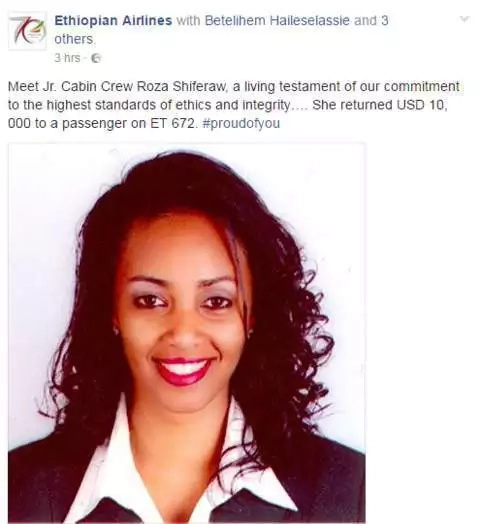 Air-hostess wins everyone after returning Ksh 1`million to passenger