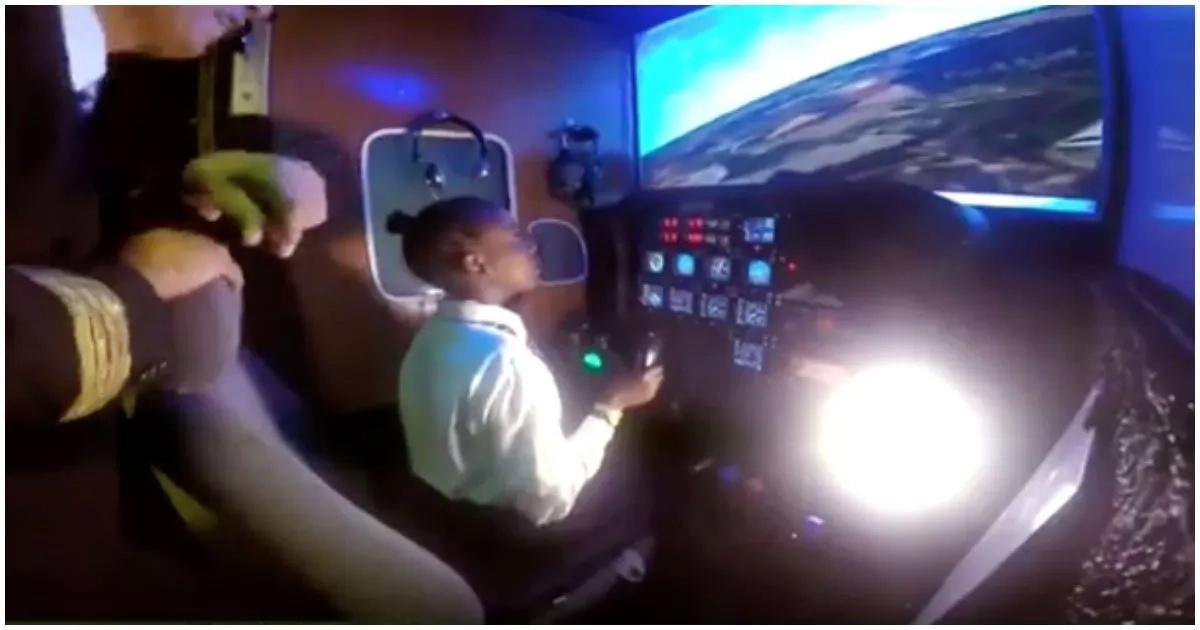 Amani on the flight simulator