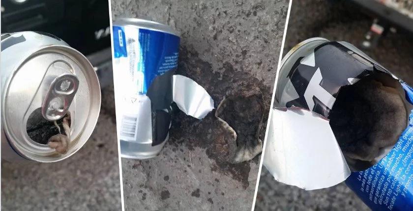 ¡Que asco! Compró una bebida para calmar la sed pero cuando abrió la lata lo que salió no fue precisamente líquido