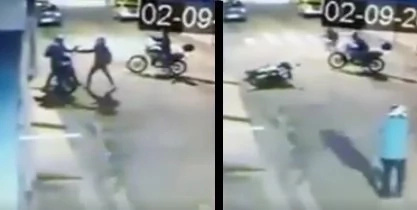 Off-duty policeman fights riding-in-tandem robbers
