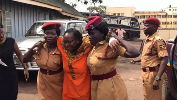 Dr Stella Nyanzi appeared frail and had to be supported to walk