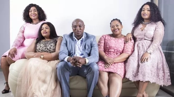 "Musa Mseleku and his four wives (L-R) Mbali ""Mangwabe,"" Busisiwe ""MaCele,"" Nokukhanya ""Mayeni"" and Thobile ""Makhumalo"""